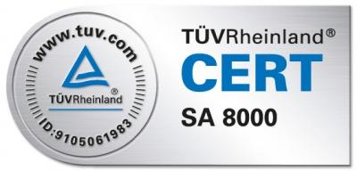 SA8000-Zertifikat, überprüft durch den TÜV Rheinland