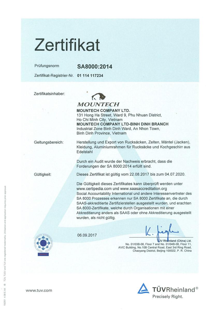 SA 8000:2014 Zertifikat für Mountech, vergeben vom TÜV Rheinland